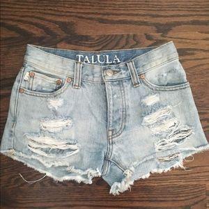 Aritzia Talula Distressed Denim Shorts
